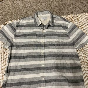 Grey & white striped lucky brand men's button down